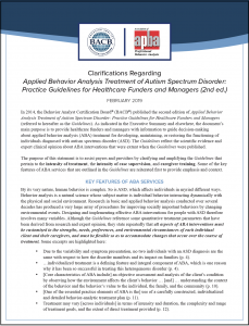 "Clarifications Regarding ""Applied Behavior Analysis Treatment of Autism Spectrum Disorder: Practice Guidelines for Healthcare Funders and Managers (2nd ed.)"""